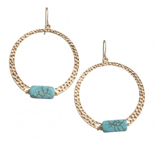 Hammered Earrings - Turquoise