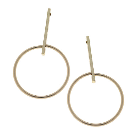 Linear Earrings with Hoop - Gold