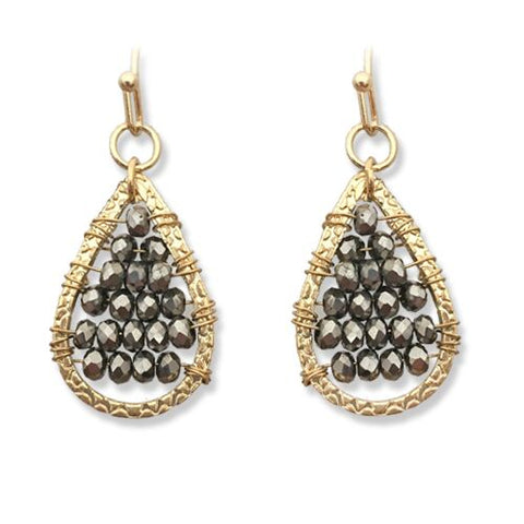 Earrings - Teardrop Hematite