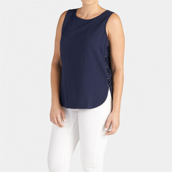 Side-Lace Tank Top - Navy