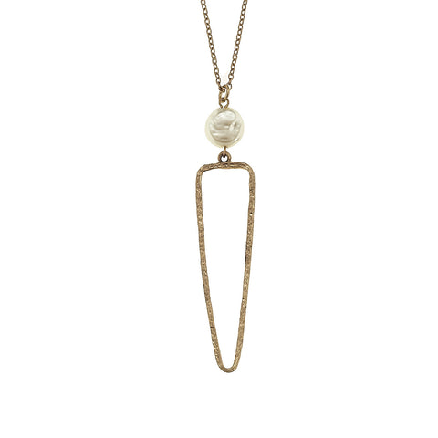 Triangle Necklace with Coin Pearl - Gold