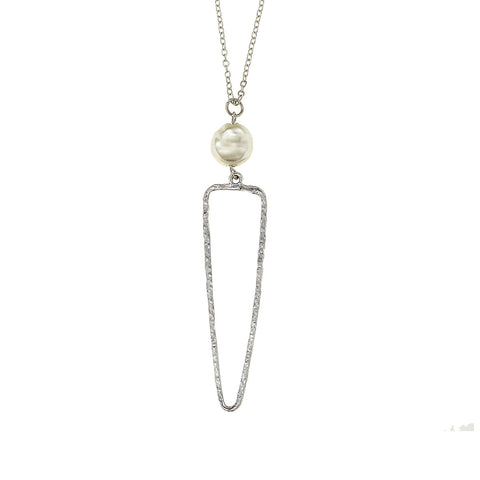 Triangle Necklace with Coin Pearl - Silver