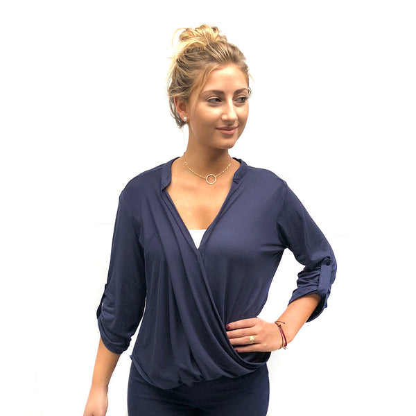 French Tuck Wrap Top - Navy