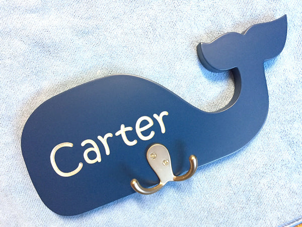 Children's Personalized Whale Carved Wooden Sign