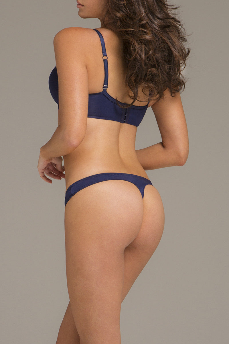 Body Veil Thong - Navy Blue