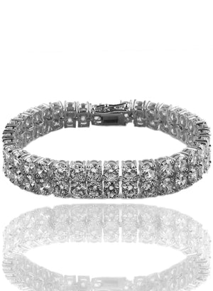 Bracelet - Double Stacked Diamond Tennis Bracelet X Stainless