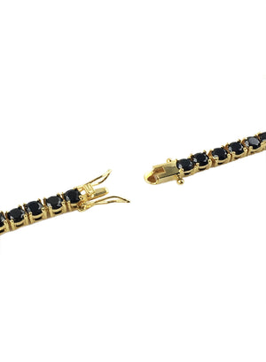 Necklace - Black Diamond Tennis Chain X 18k Gold