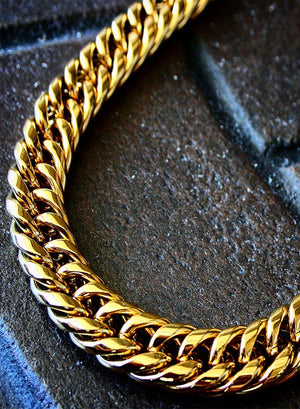 Necklace - Cuban Link Chain & Bracelet Set X Gold