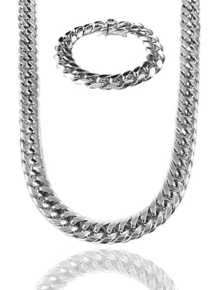 Necklace - Cuban Link Set X White Gold