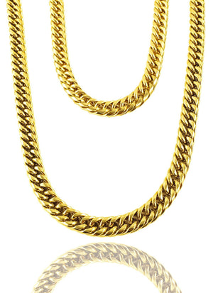 Necklace - Cuban Links Layered Set X 18k Gold