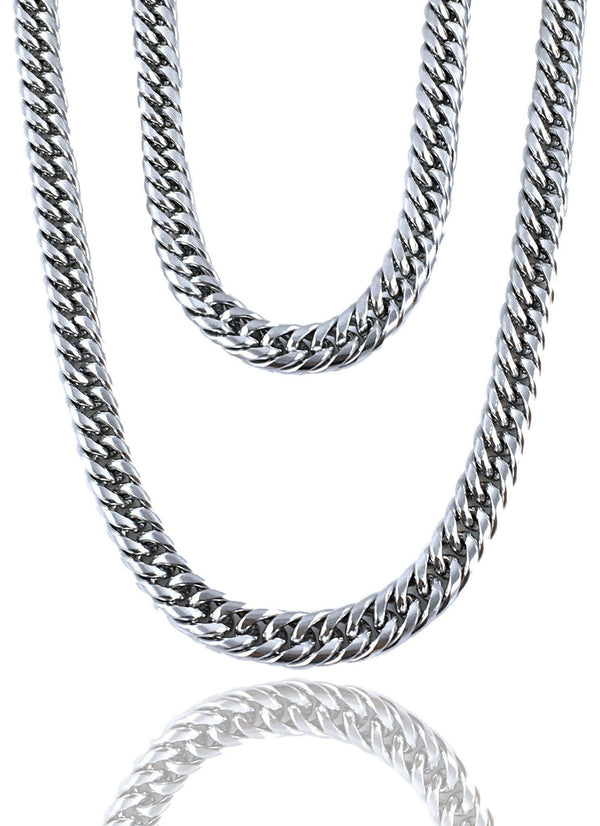Necklace - Cuban Links Layered Set X Stainless Silver