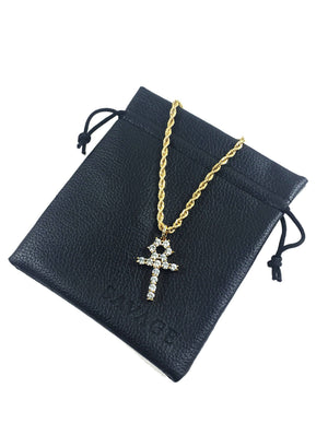 Necklace - Diamond Ankh X 18k Gold