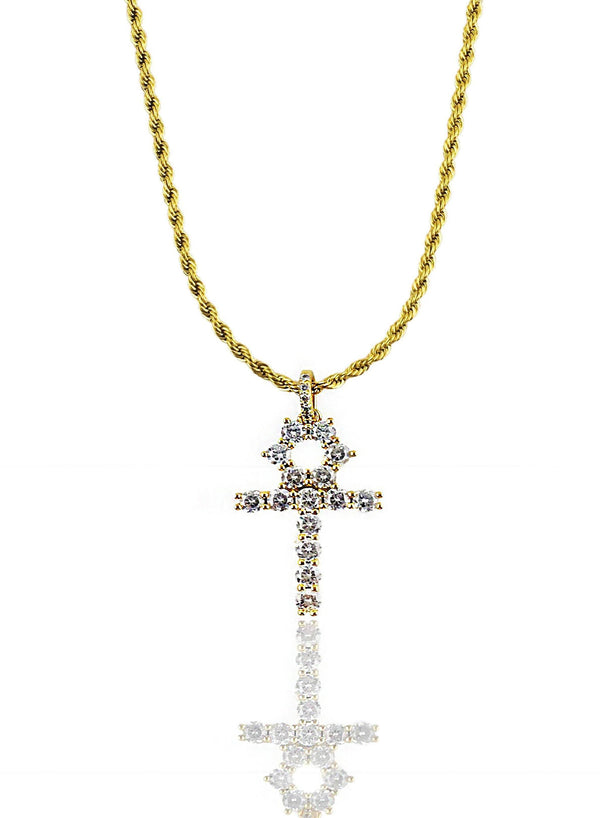 Necklace - Diamond Ankh X Gold