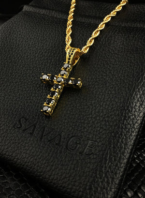 Necklace - Diamond Cross X BLΛCK/GOLD