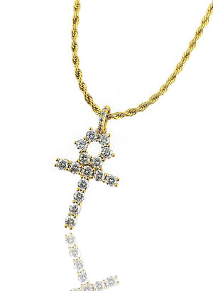 Necklace - Diamond Cuban & Ankh Set X Gold