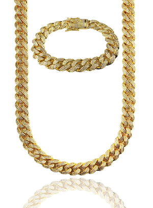 Necklace - Diamond Cuban Chain & Bracelet Set
