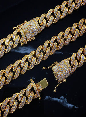 Necklace - Diamond Cuban Link Chain X 18k Gold