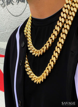 Necklace - Diamond Cuban Link Chain X Gold (18mm)