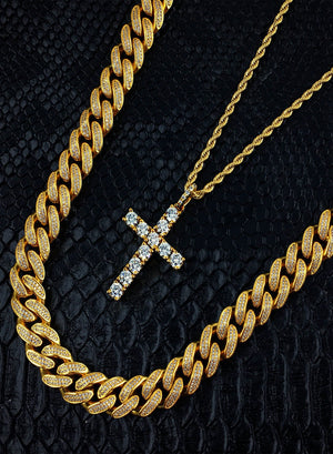 Necklace - Diamond Cuban Link X Cross | 18k Gold