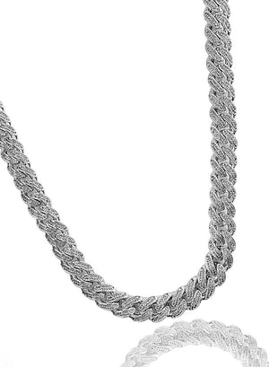 Necklace - Diamond Cuban Set X White Gold
