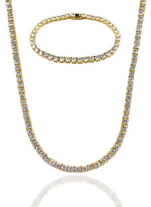 Necklace - Diamond Tennis Chain & Bracelet Set X Gold