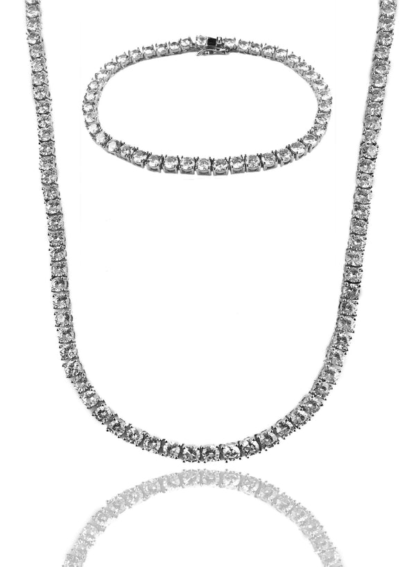 Necklace - Diamond Tennis Chain & Bracelet Set X Stainless