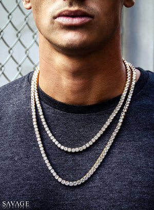 Necklace - Diamond Tennis Chain Set X Gold