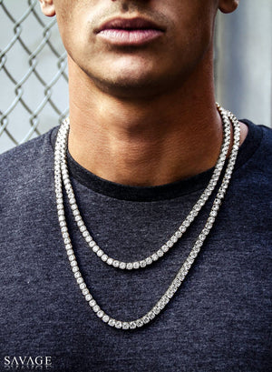 Necklace - Diamond Tennis Chain Set X White Gold
