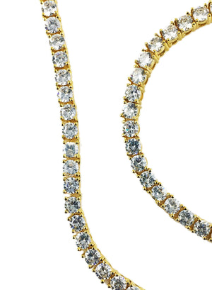 Necklace - Diamond Tennis X Ankh Set - 18k Gold