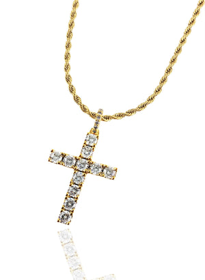 Necklace - Diamond Tennis X Cross Set - 18k Gold