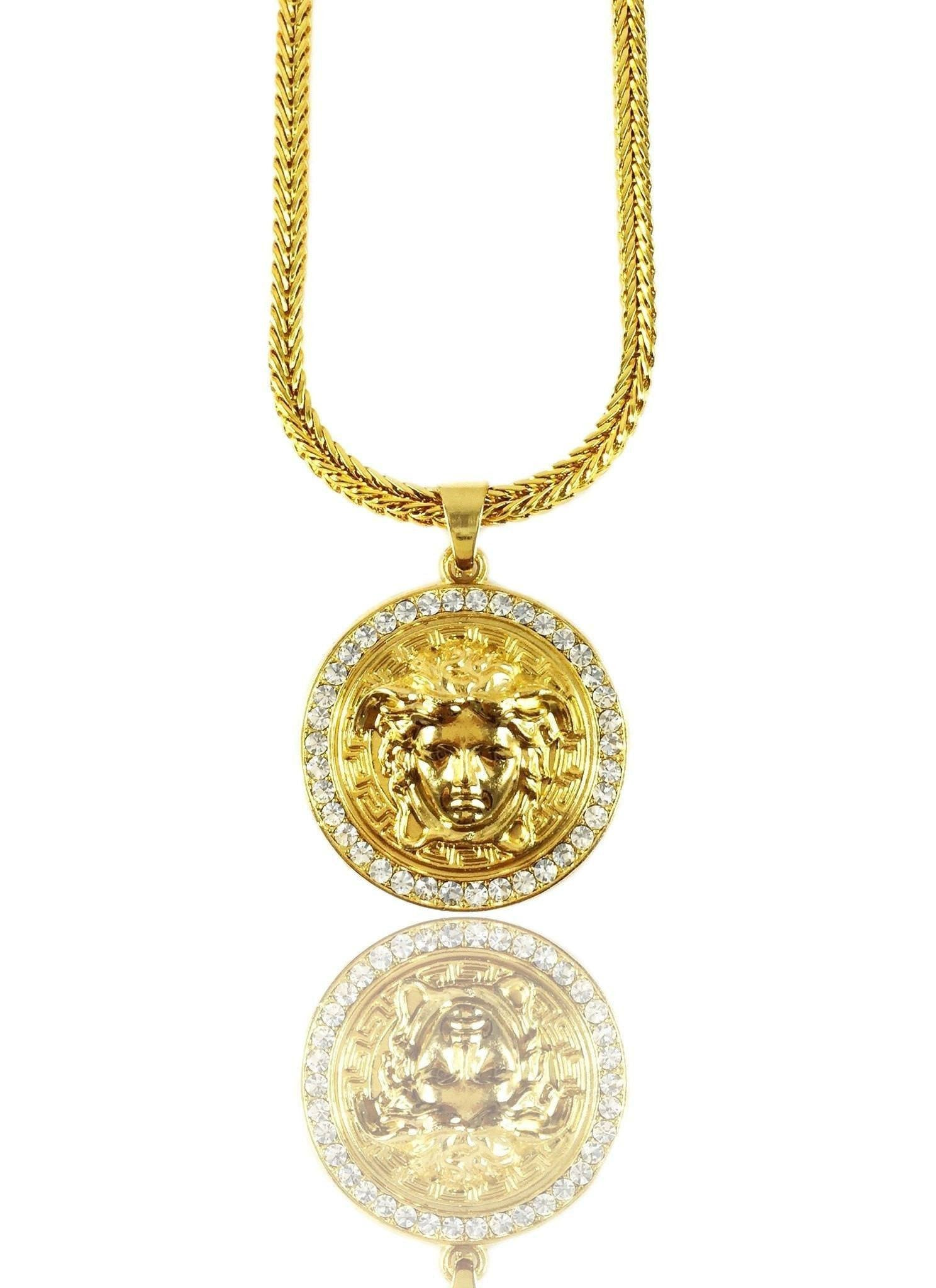 chain talisman necklace de medallion diamond gold beers yellow