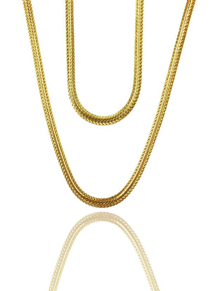 Necklace - Serpentine Chains Layered Set X 18k Gold