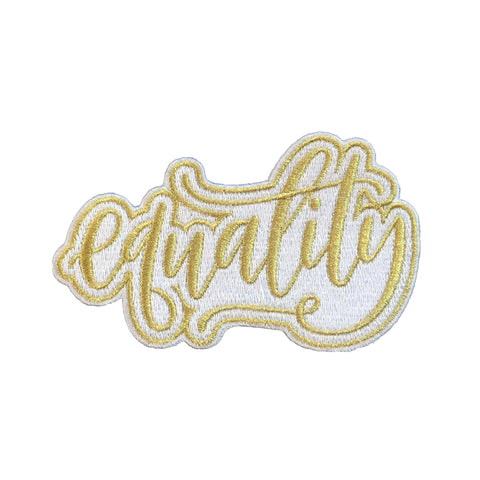 equality patch, gold, iron on