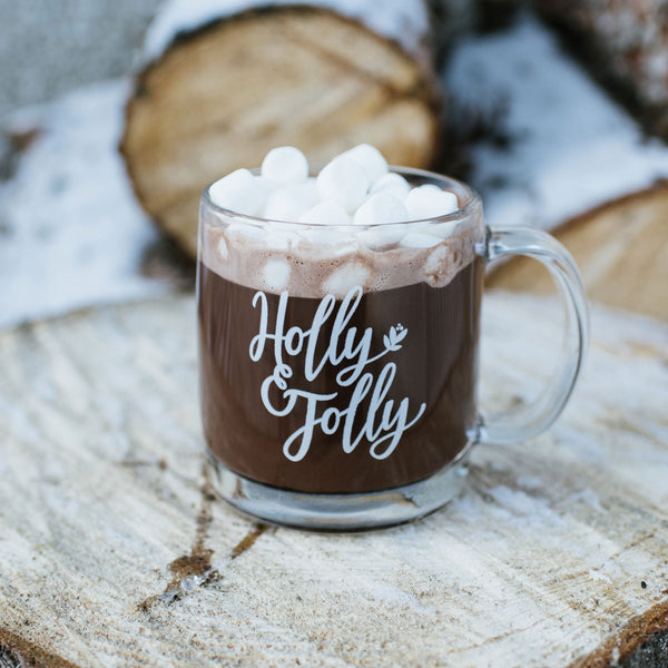 Holly Jolly Glass Mug