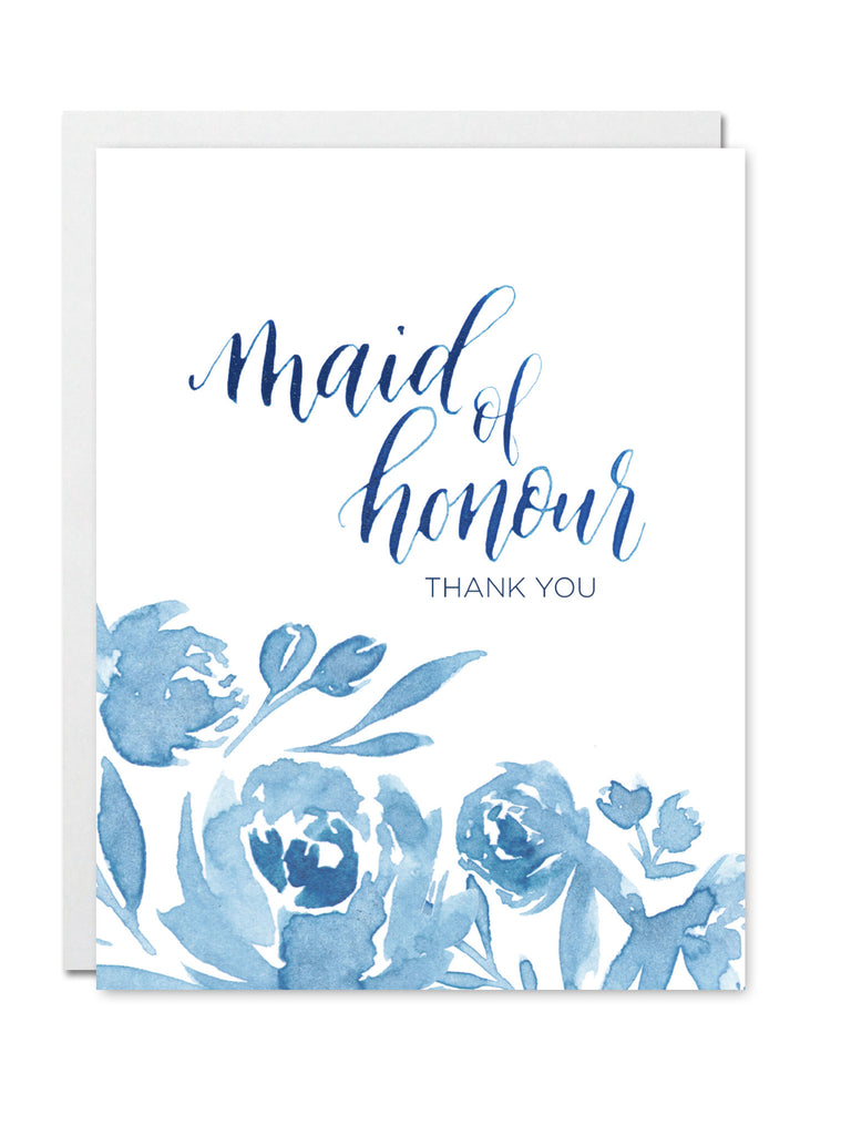 Maid Of Honour Thank You Card Justine Ma