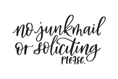 No Junkmail or Soliciting Decal