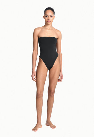 wrap one-piece in black