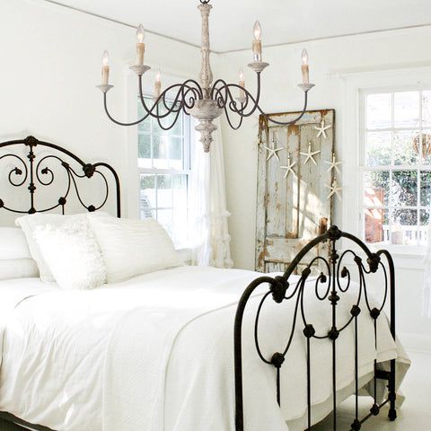 French Country shabby chic chandelier for bedroom