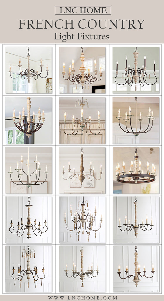 French Country shabby chic  chandelier for home