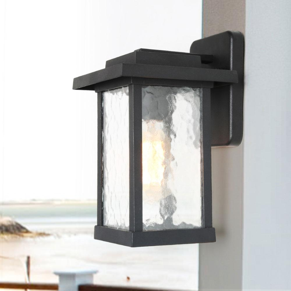 Outdoor Wall Lantern Textured Glass Transitional