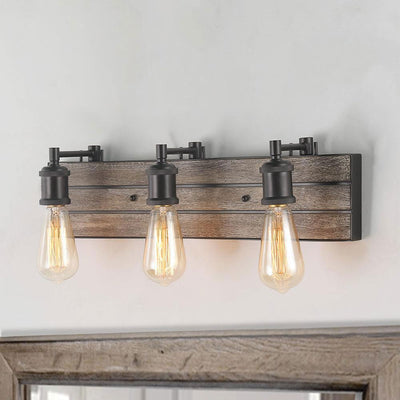 LNC HOME Farmhouse Distressed Wood Vanity Lights