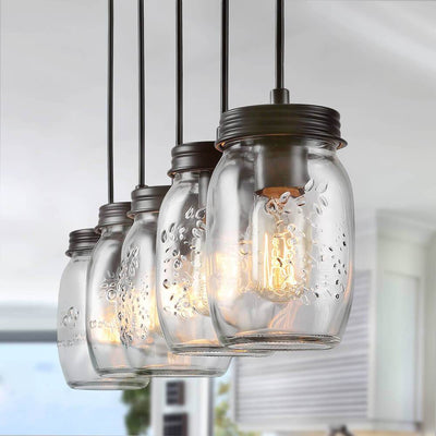LNC Island Lights Farmhouse Glass Mason Jar Linear Chandeliers 5-light