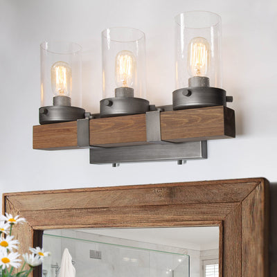 LNC HOME Farmhouse Wood Base Vanity Lights