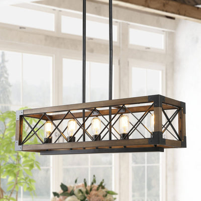 Wood Cage Cross-iron Chandelier