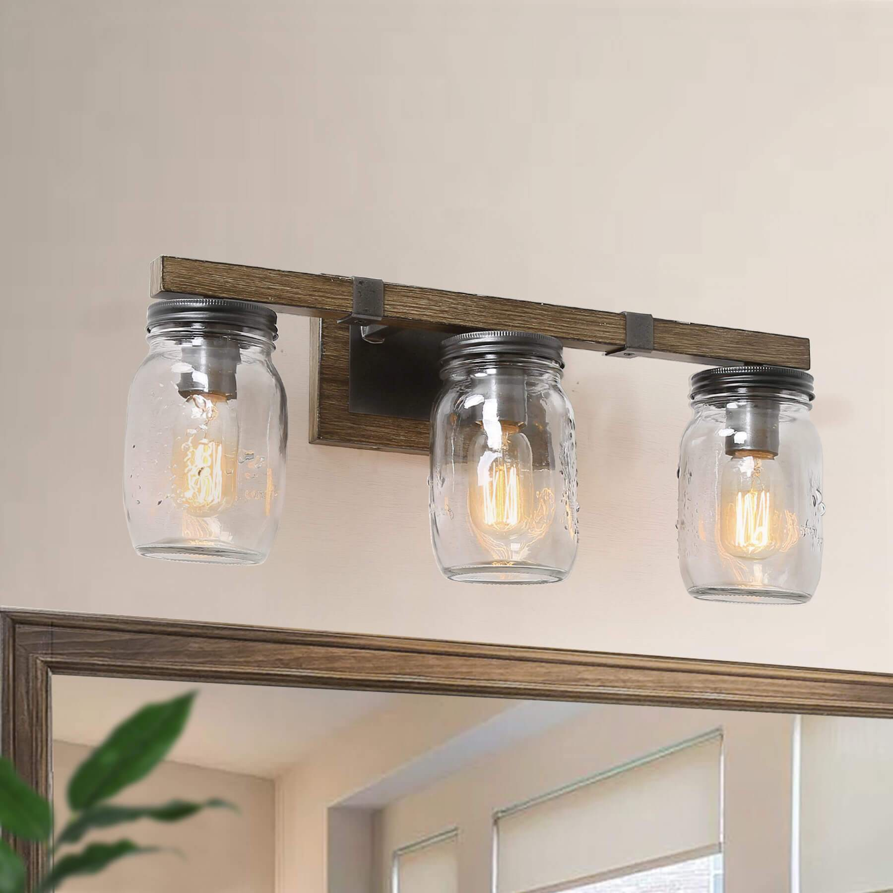 Wood Mason Jar Wall Sconces Pic