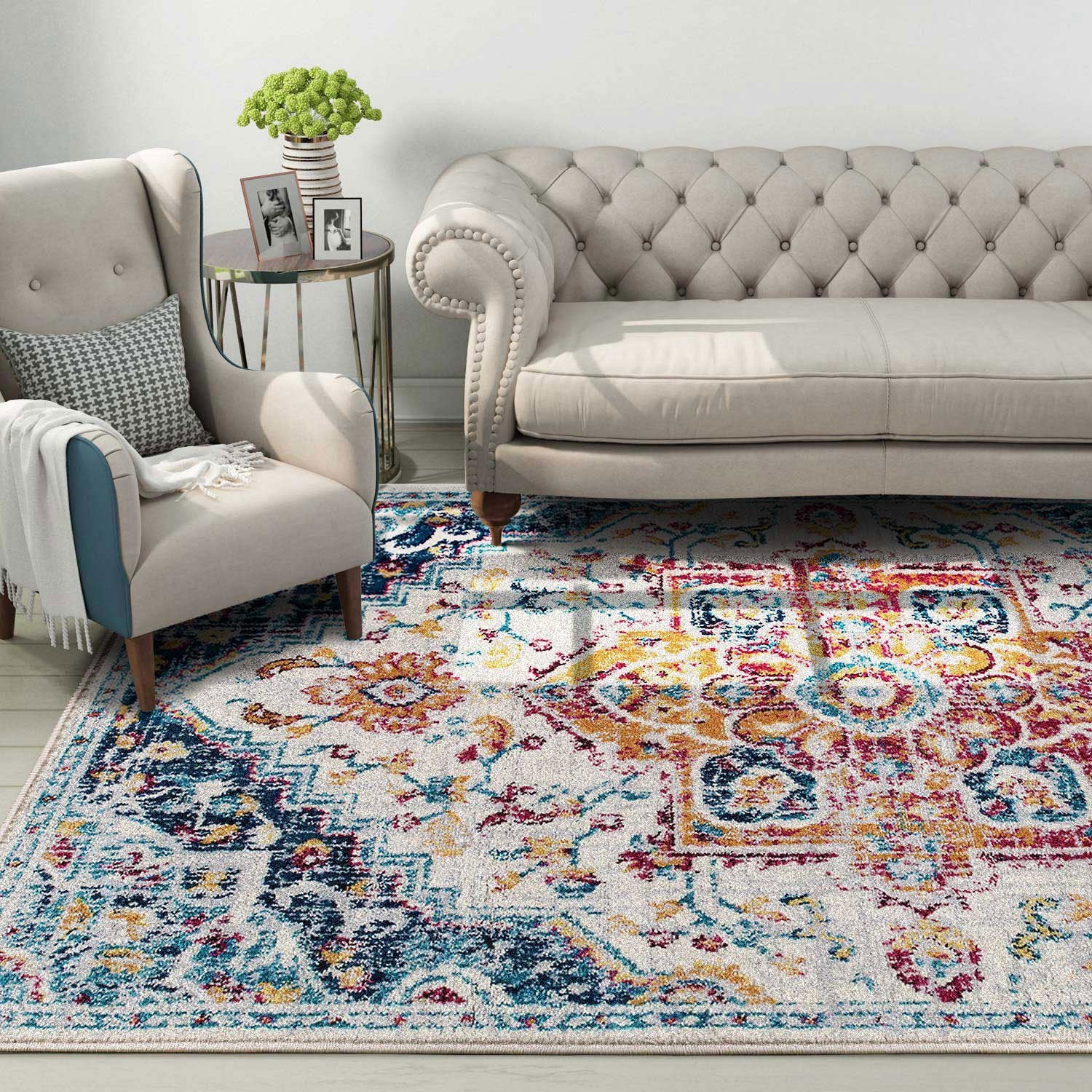 Floral Printed Jewel Tone Area Rug Pic