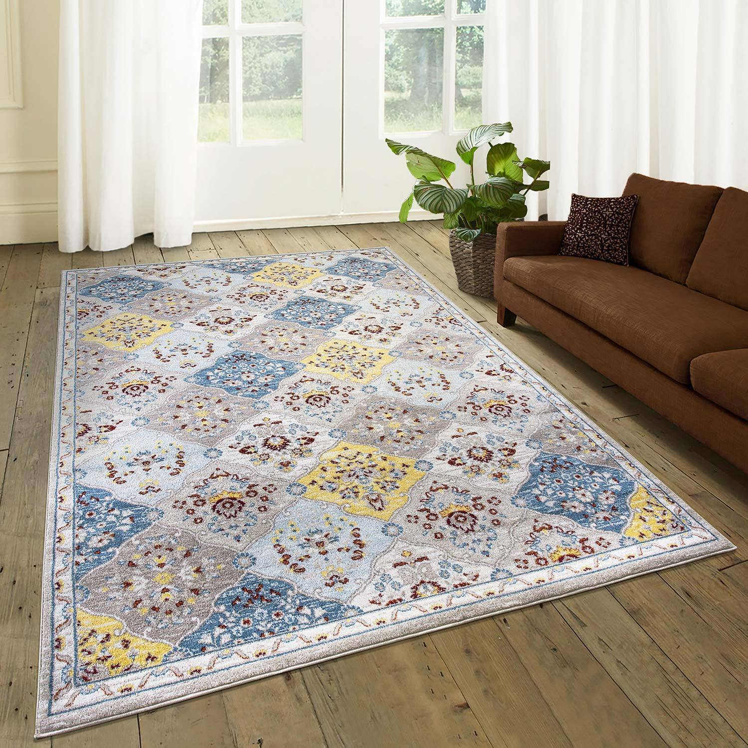 Floral Grid Area Rug Pic