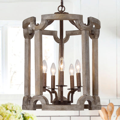 Farmhouse Cylindrical Drum Pendant Light - 5 Lights