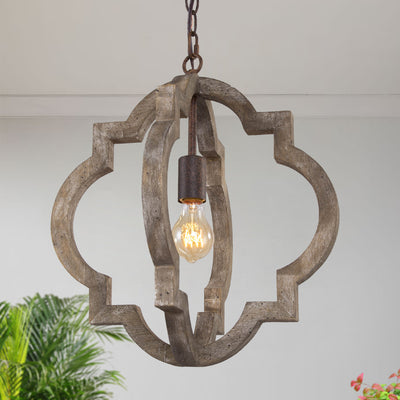 Rustic Farmhouse Wood Pendant