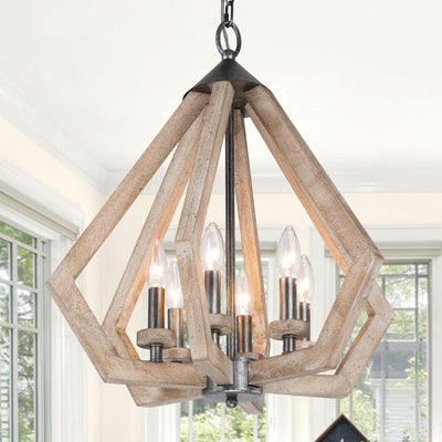 Diamond Wooden Farmhouse Pendant